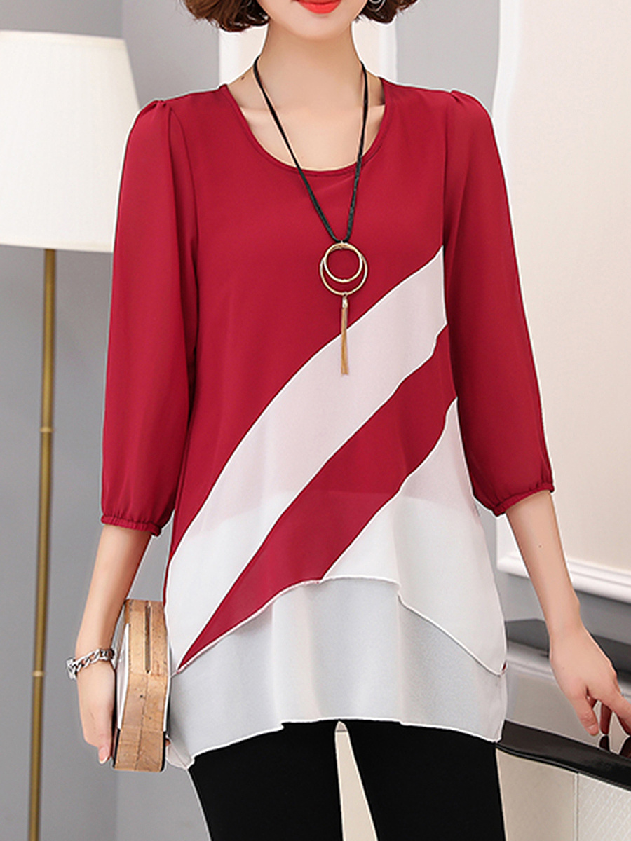 Round Neck Color Block Chiffon Blouse