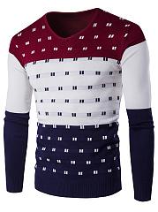 Mene28099S-V-Neck-Color-Block-Sweater