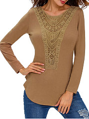Spring Summer  Cotton Spandex  Women  Round Neck  Decorative Lace Patchwork  Plain Long Sleeve T-Shirts
