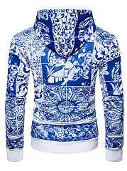 Blue And White Porcelain Printed Men Hoodie