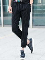 Mens-Casual-Elastic-Waist-Letters-Pocket-Jogger-Pants
