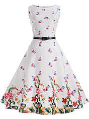 Round Neck  Belt  Floral Butterfly Printed Skater Dress