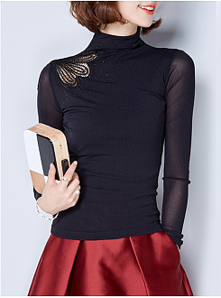 High Neck See-Through Plain Long Sleeve T-Shirt