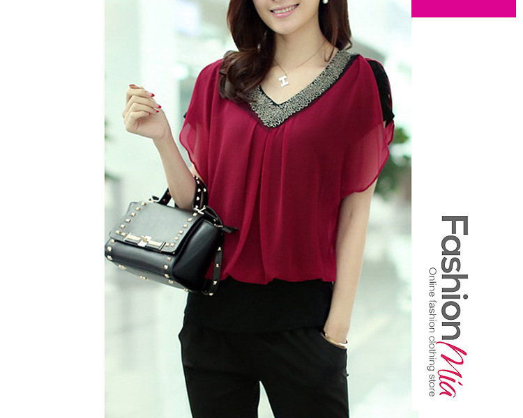 gender:women, hooded:no, thickness:regular, material:chiffon, collar&neckline:v-neck, sleeve:short sleeve, embellishment:beading, pattern_type:plain, occasion:office, season:summer, package_included:top*1, length:59,shoulder:35,bust:86,