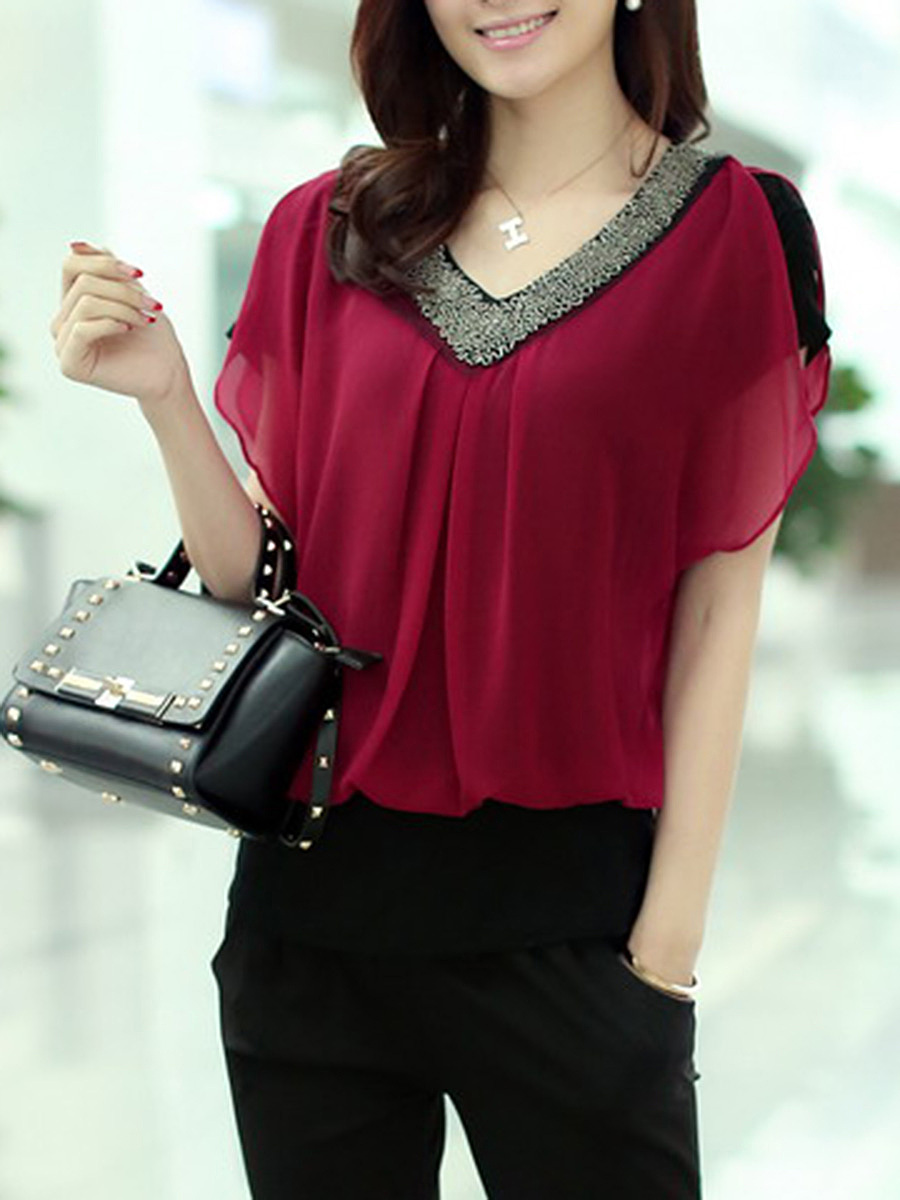 Summer  Chiffon  Women  V-Neck  Beading  Plain  Short Sleeve Blouses