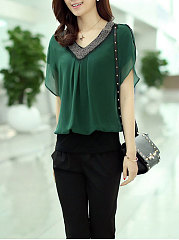 Summer  Chiffon  Women  V-Neck  Beading  Plain Short Sleeve T-Shirts