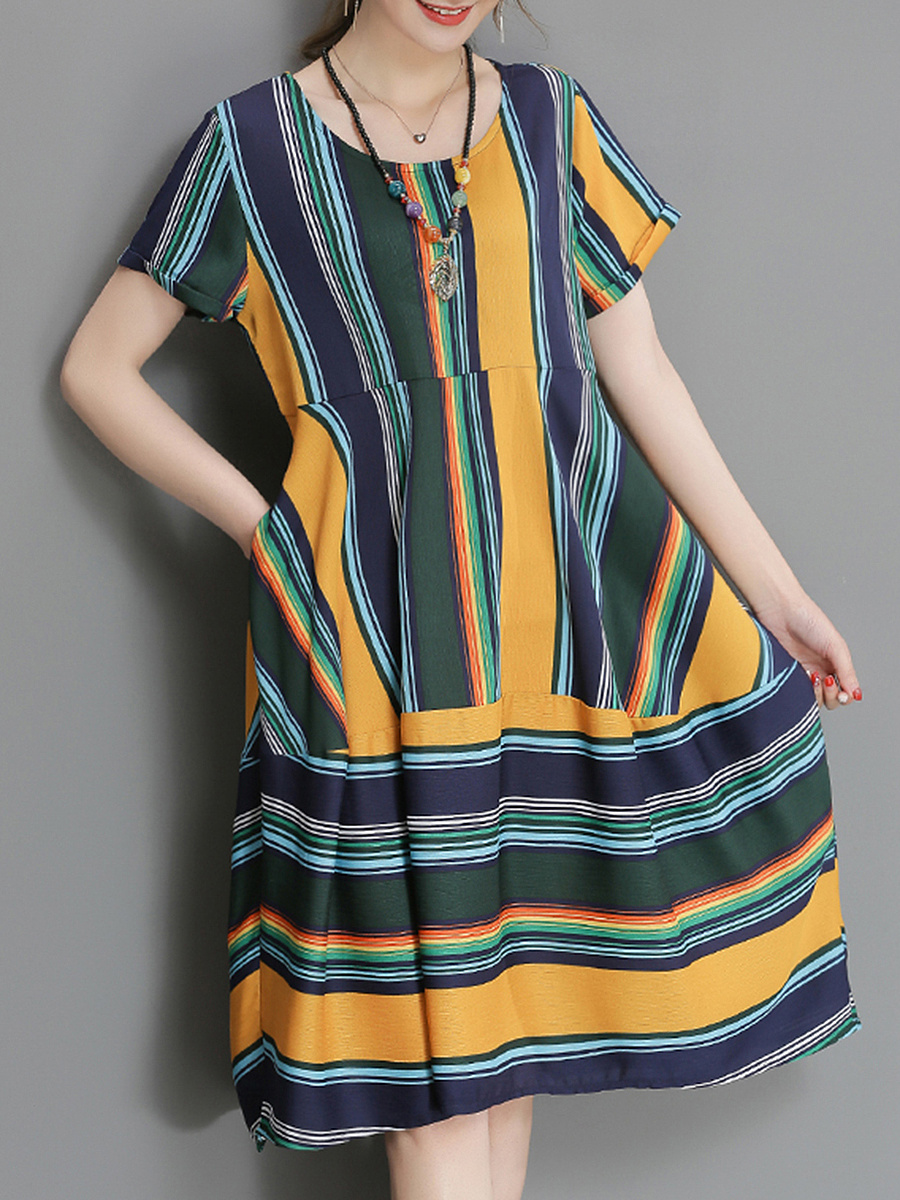 Striped Round Neck Pocket Midi Shift Dress