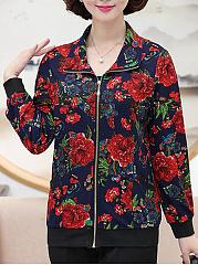 Band-Collar-Zips-Abstract-Print-Floral-Long-Sleeve-Jackets