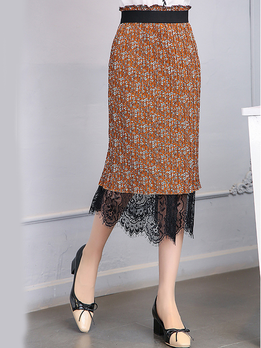 Decorative Lace Elastic Waist Two Way Printed Straight Midi Skirt