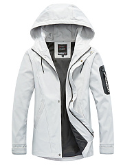 Hooded-Pocket-Plain-Men-Trench-Coat