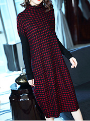 Cowl Neck  Patchwork  Houndstooth Maxi Dress
