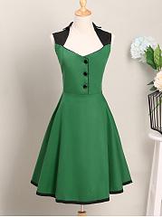 Special-Designed-Sweet-Heart-Color-Block-Skater-Dress