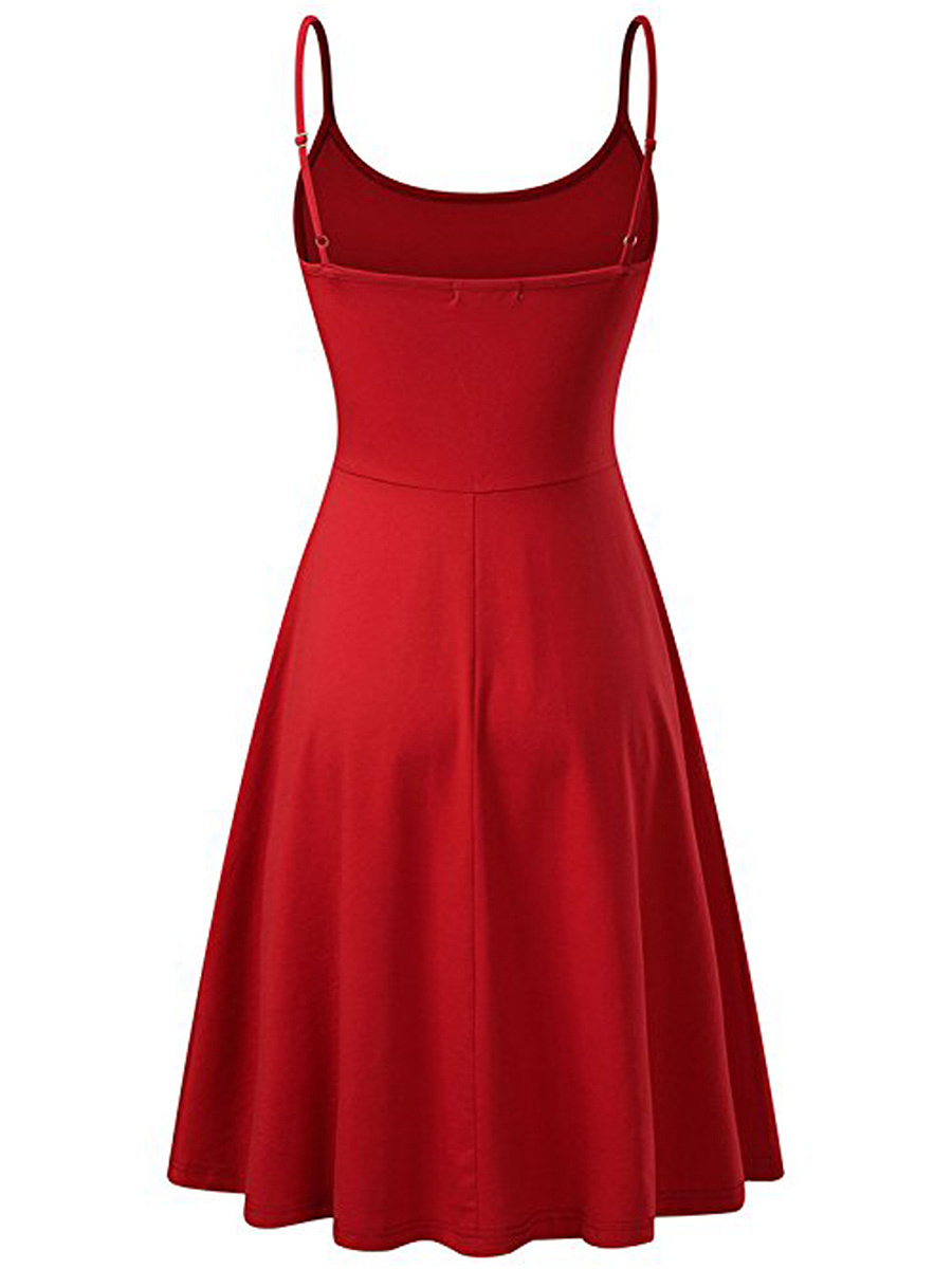 Casual Basic Spaghetti Strap Plain Skater Dress