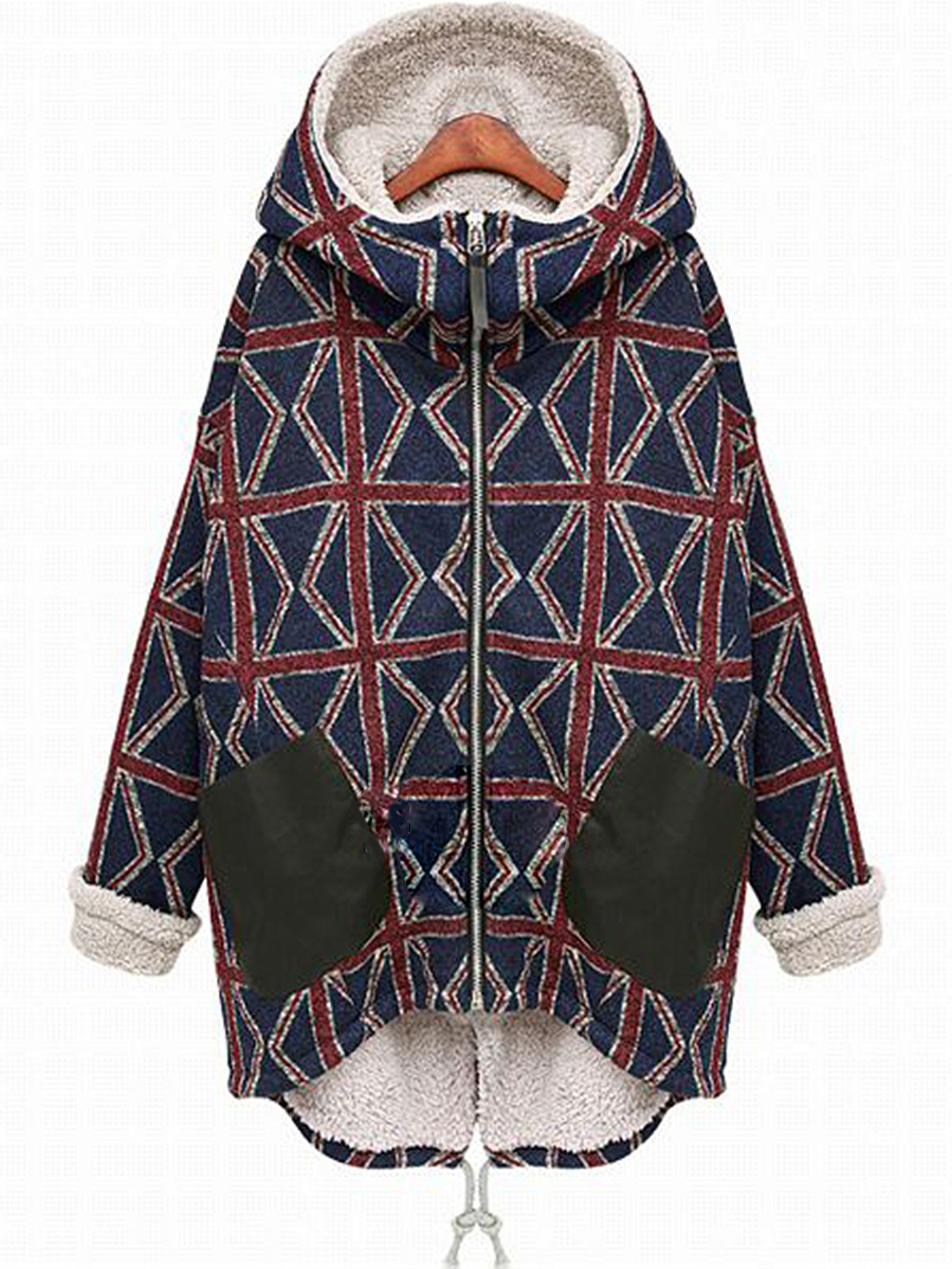 Loose Hooded Fleece Lined Patch Pocket High-Low Printed Coat
