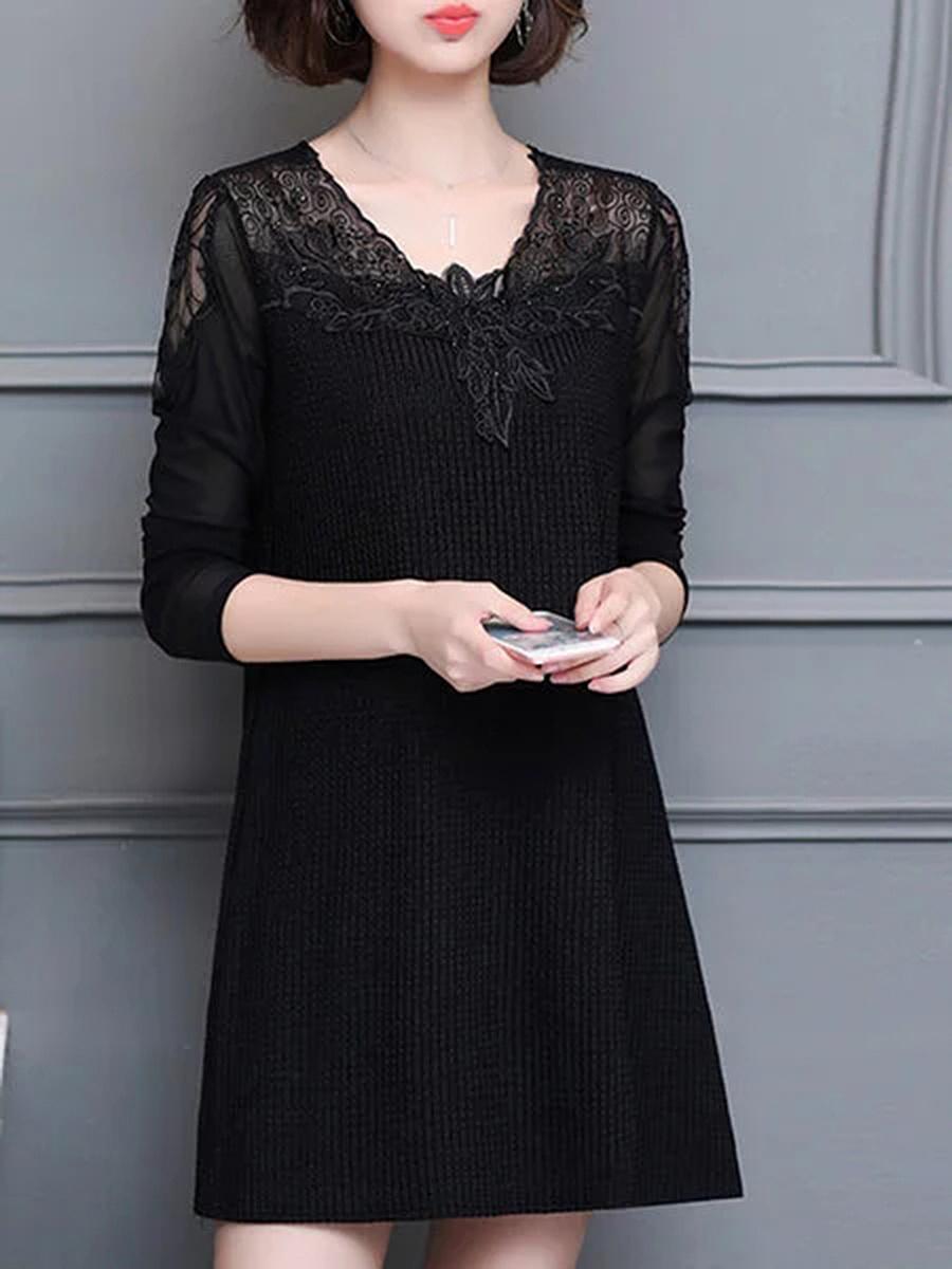 Round Neck  Decorative Lace See-Through  Plain  Cotton Blend Shift Dress