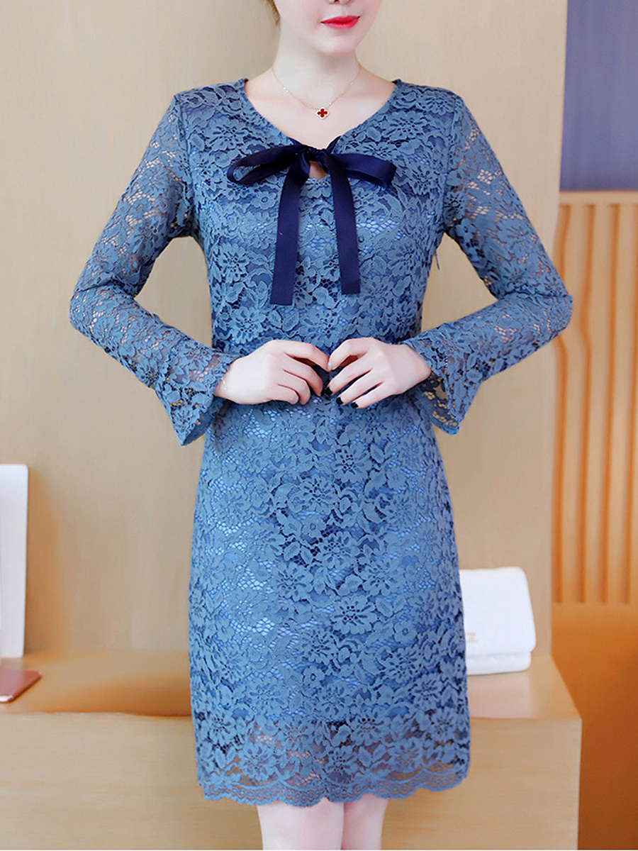 Tie Collar Bowknot Hollow Out Plain Lace Bodycon Dress