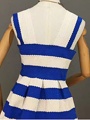 Spaghetti Strap  Patchwork  Color Block Striped Skater Dress