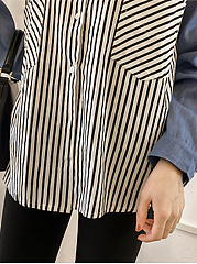 Autumn Spring  Polyester  Women  Turn Down Collar  Patchwork  Striped  Long Sleeve Blouses