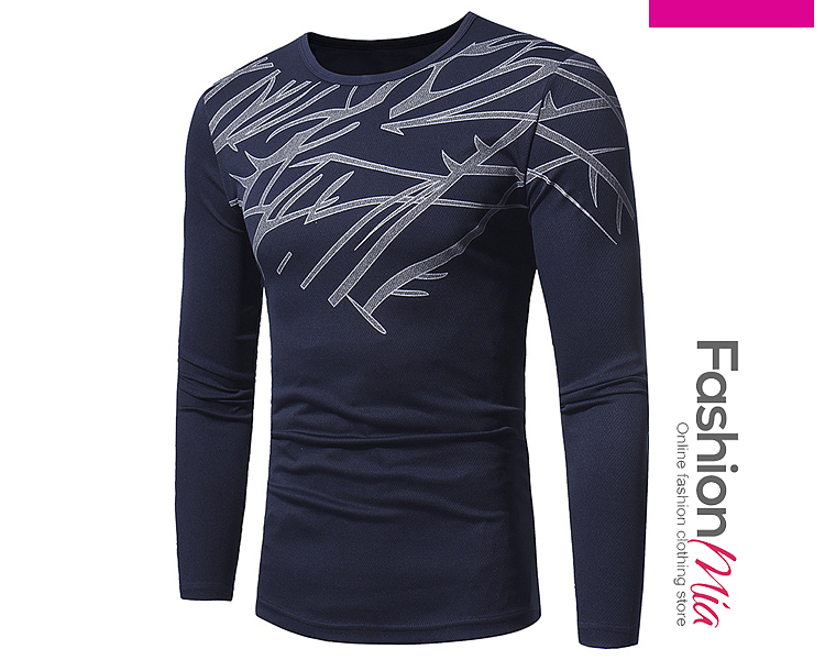 Round Neck  Printed  Long Sleeve Long Sleeves T-Shirts 39966F274ABA