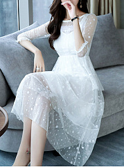Round Neck  See-Through  Plain  Polyester Maxi Dress
