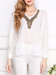 Autumn Spring  Polyester  Women  V-Neck  Beading  Plain  Long Sleeve Blouses