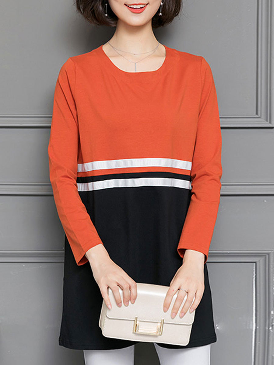 Autumn Spring  Blend  Women  Round Neck  Patchwork  Striped Long Sleeve T-Shirts