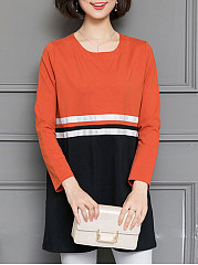 Autumn-Spring-Blend-Women-Round-Neck-Patchwork-Striped-Long-Sleeve-T-Shirts