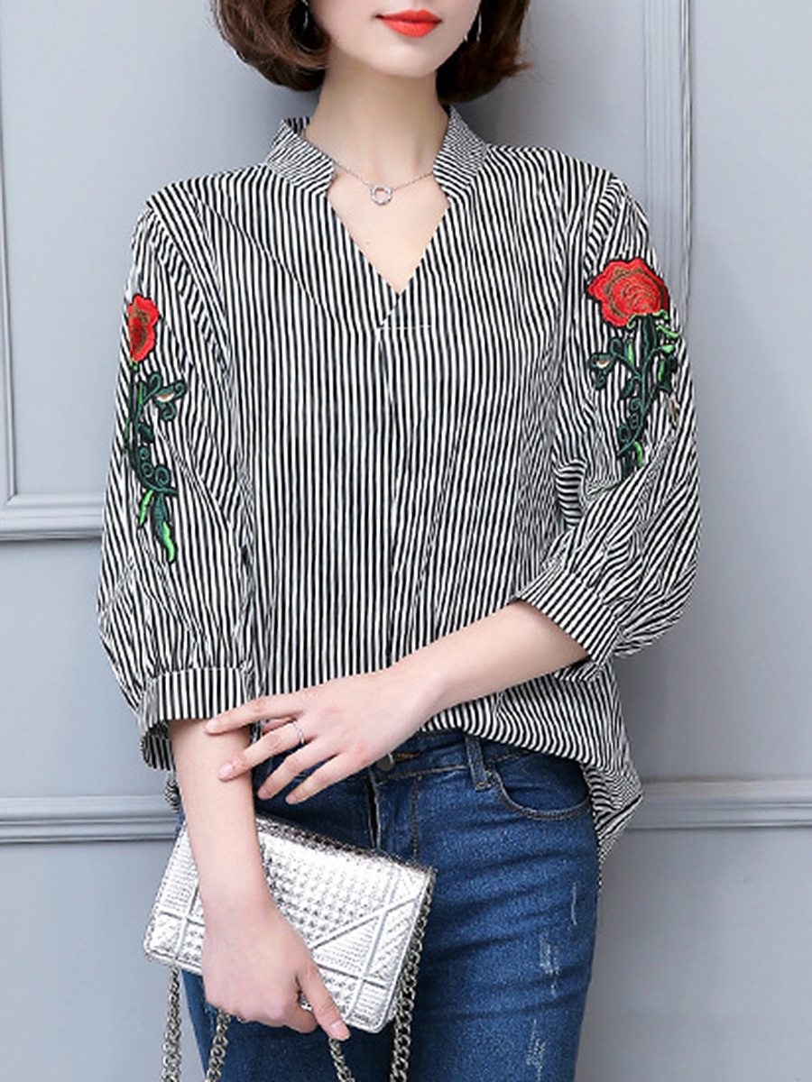 V-Neck  Embroidery Striped Blouse