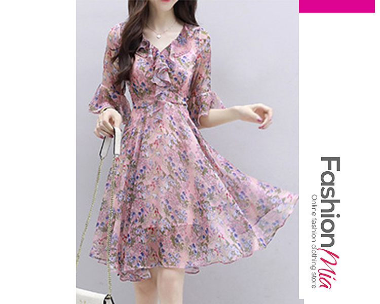 V-Neck  Asymmetric Hem Flounce Ruffled Hem  Floral Printed Skater Dress