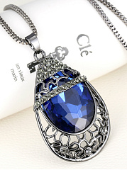 Drop Shape Crystal Hollow Out Long Necklace