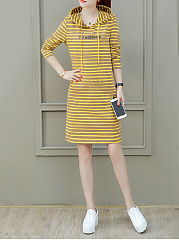 Hooded  Letters Striped Shift Dress