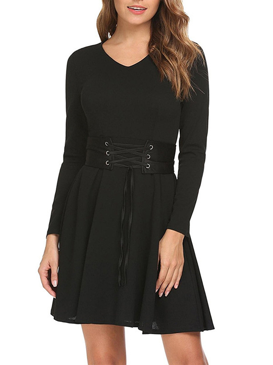 Round Neck  Lace-Up  Belt Loops  Plain  Polyester Skater Dress