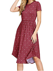 Round Neck  Patch Pocket  Polka Dot Skater Dress