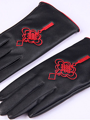 Chinese Knot Embroidery Leather Gloves