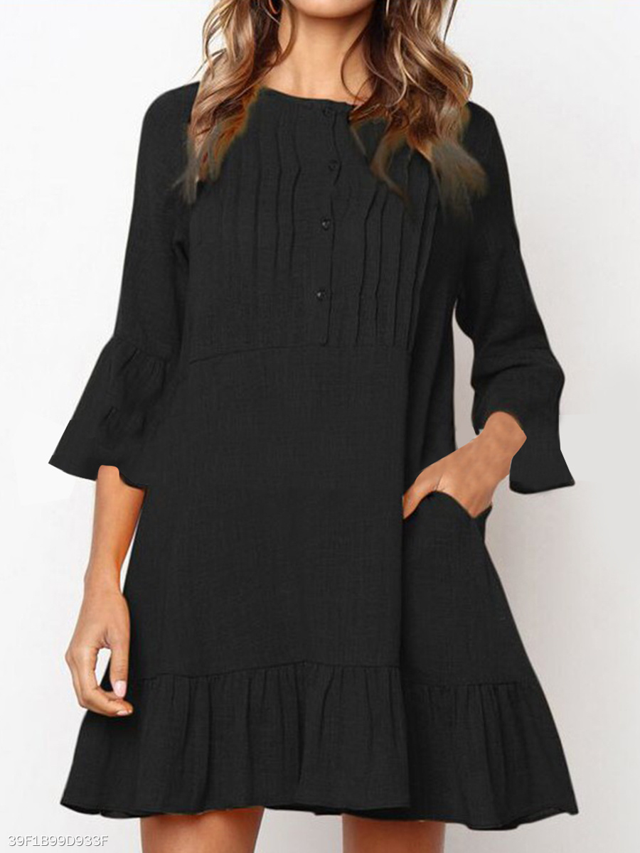 Round Neck  Ruffled Hem  Plain Shift Dress