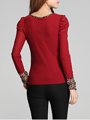 Leopard Ruched Rhinestone Long Sleeve T-Shirt