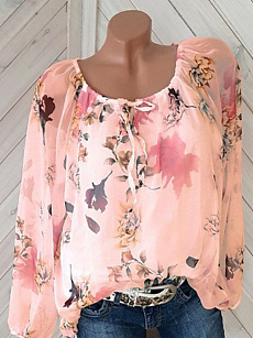 Spring Summer  Polyester  Round Neck  Printed  Long Sleeve Blouse