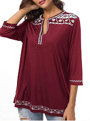 V Neck  Embroidered  Embroidery Blouses