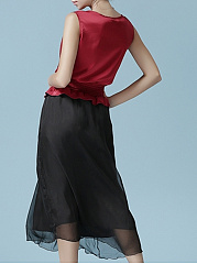 Round Neck  Elastic Waist Patchwork Peplum  Fake Two-Piece  Color Block Skater Dress