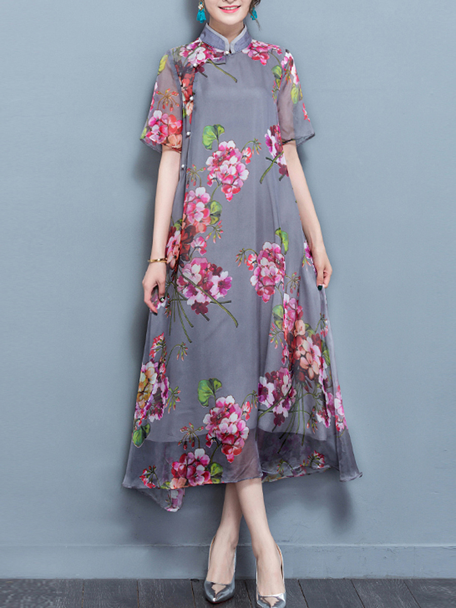 High Neck  Decorative Button  Floral Printed Maxi Dress