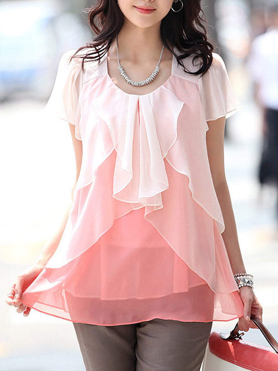 Round Neck Gradient Chiffon Blouse