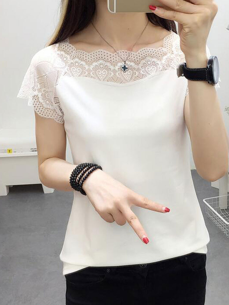 Summer  Acrylic  Women  Square Neck  Decorative Lace See-Through  Plain Short Sleeve T-Shirts