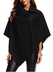 Lapel  Asymmetric Hem  Plain Cape