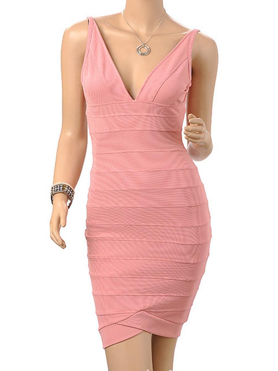 Deep V-Neck  Plain Bodycon Dress