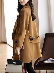 Loose Lapel Flap Pocket Plain Woolen Coat