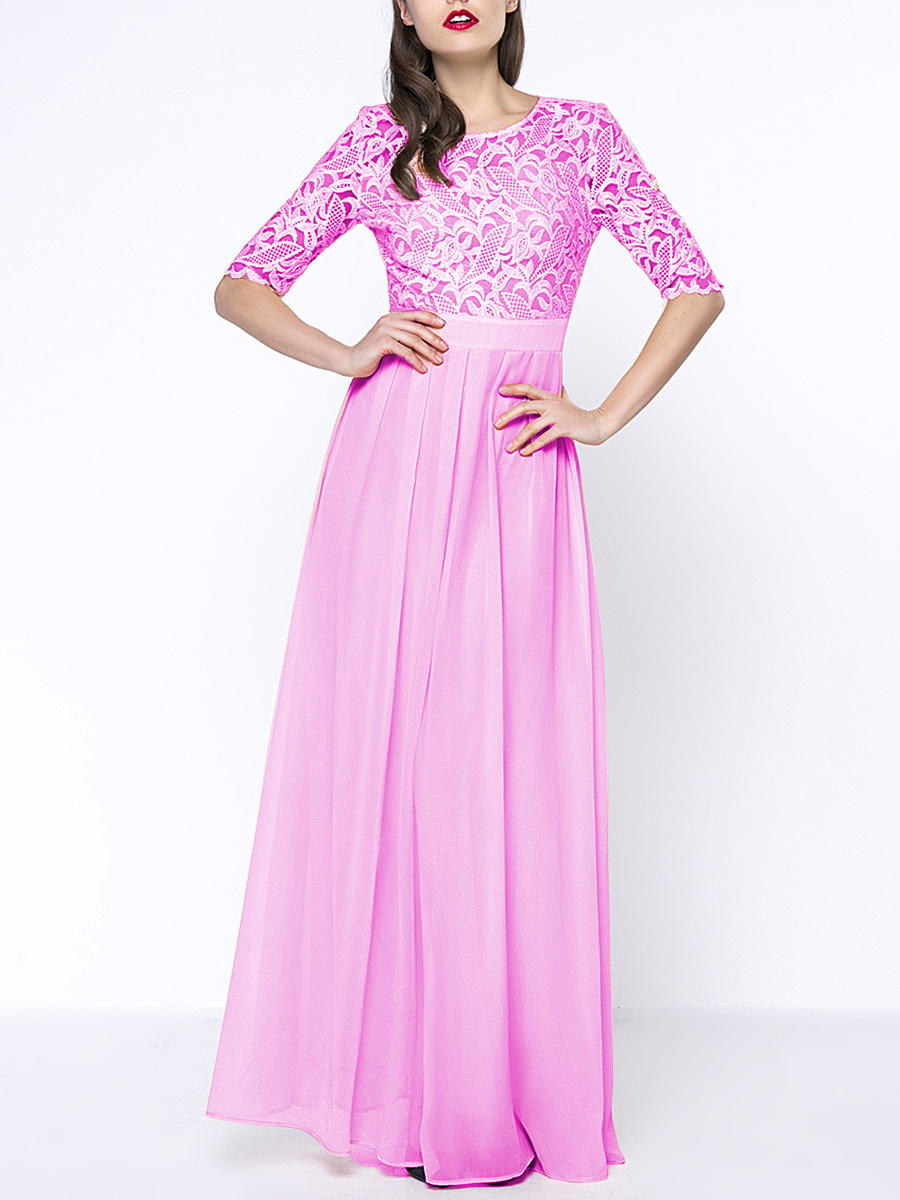 Round Neck Hollow Out Plain Chiffon Half Sleeve Maxi Dress