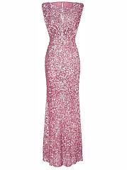 Sparkling-Plain-Sequin-Round-Neck-Evening-Dress