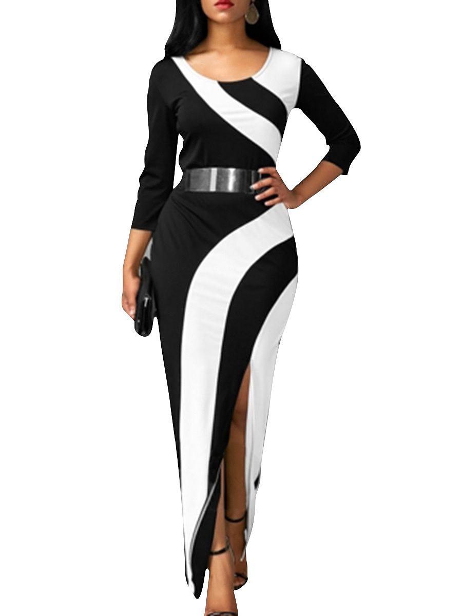 Round Neck High Slit Color Block Maxi Dress