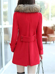 Faux Fur Collar Double Breasted Pocket Plain Woolen Coat