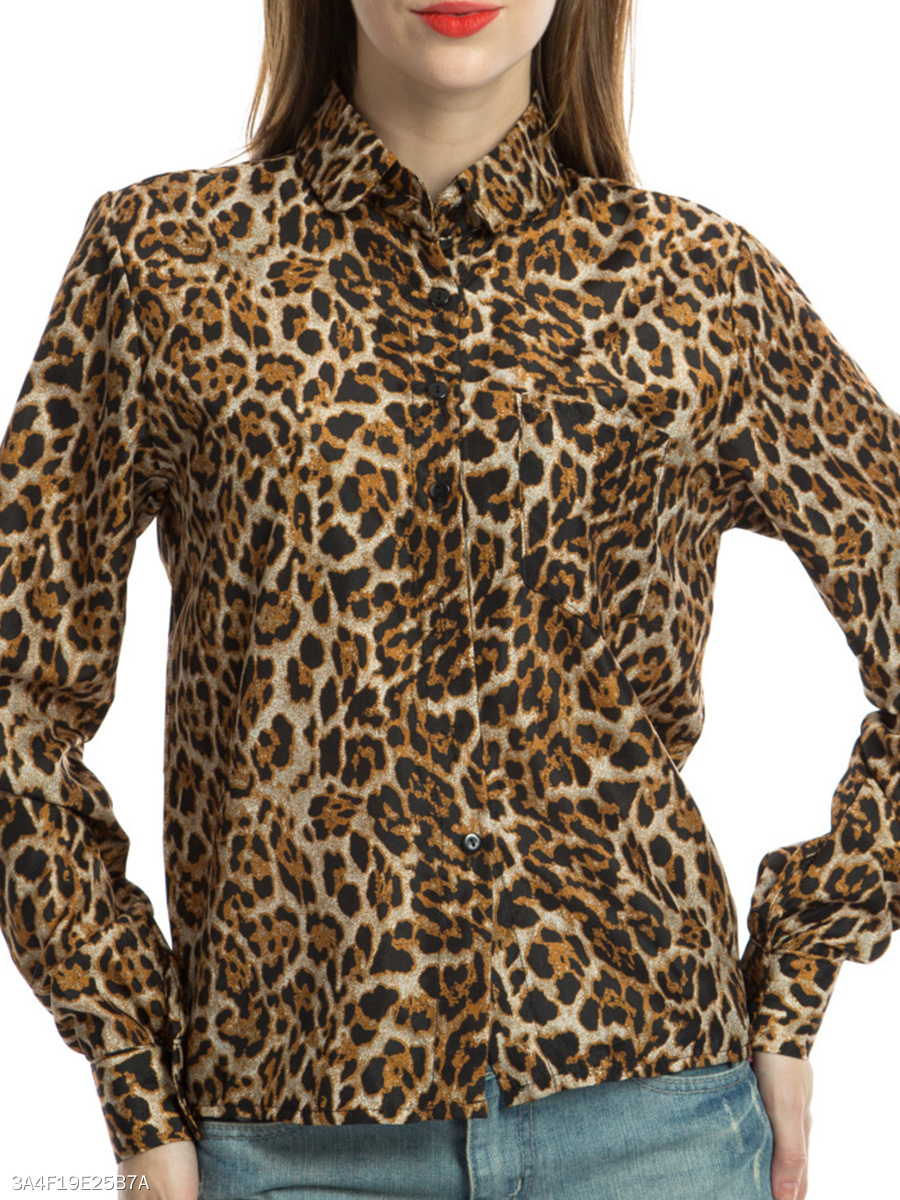 Autumn Spring  Chiffon  Women  Leopard  Long Sleeve Blouses